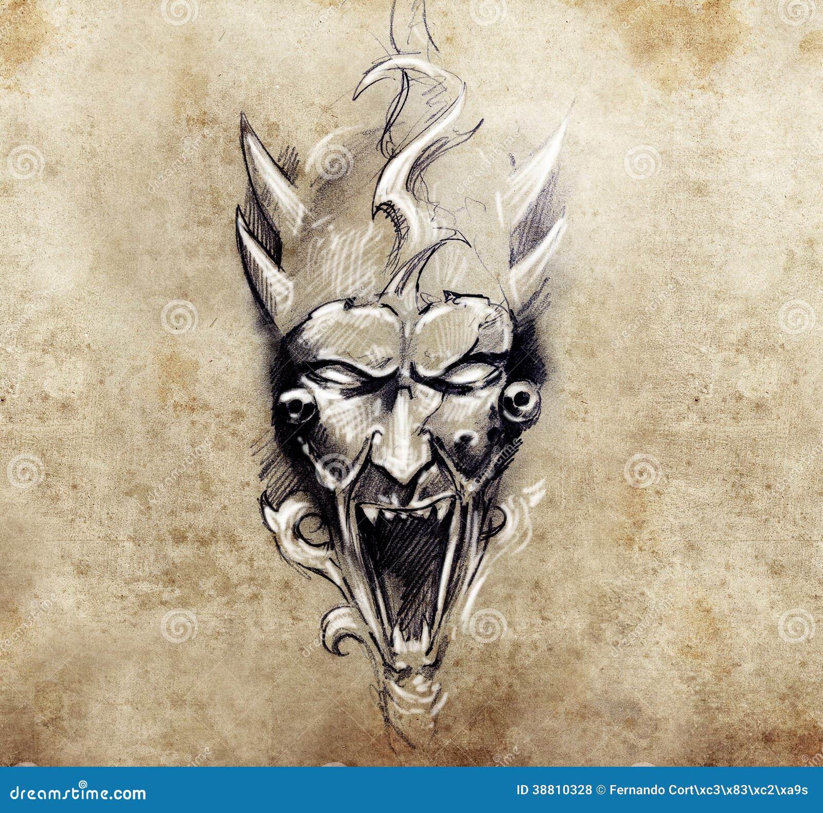 tattoo art sketch of a devil with big horns stock illustration image 38810328. Black Bedroom Furniture Sets. Home Design Ideas