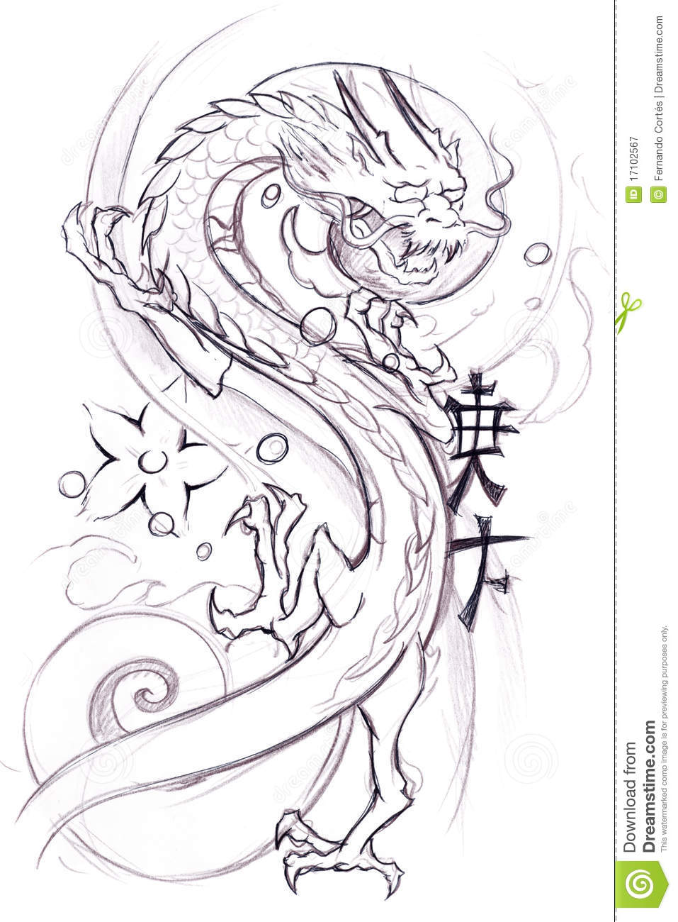 tattoo art sketch of a japanese dragon stock illustration image 17102567. Black Bedroom Furniture Sets. Home Design Ideas