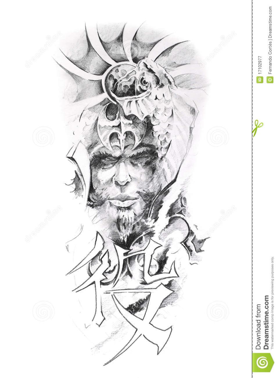 Tattoo Art Sketch Of A Japanese Warrior Royalty Free