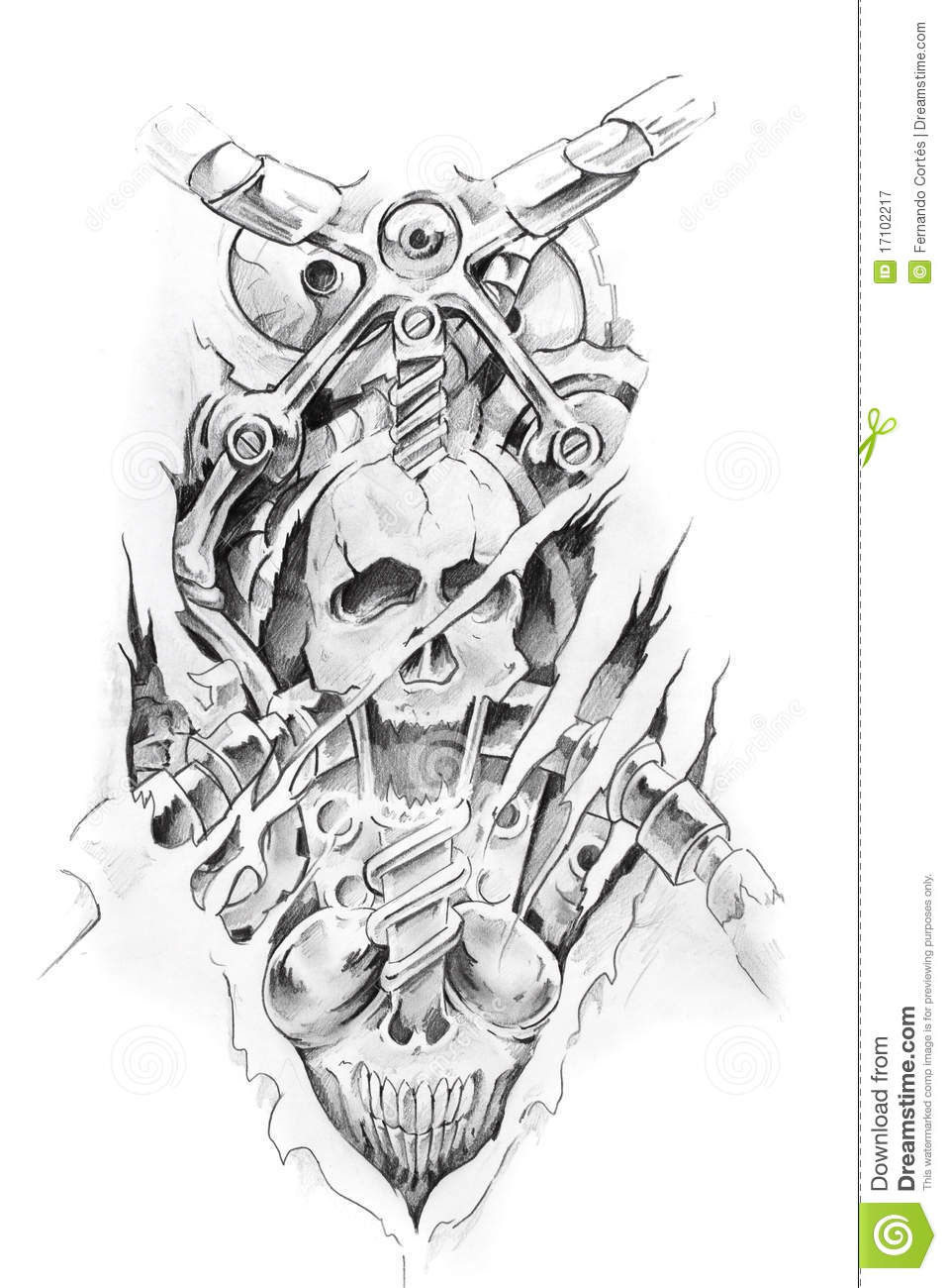 Tattoo Art Sketch Of A Machine Royalty Free Stock