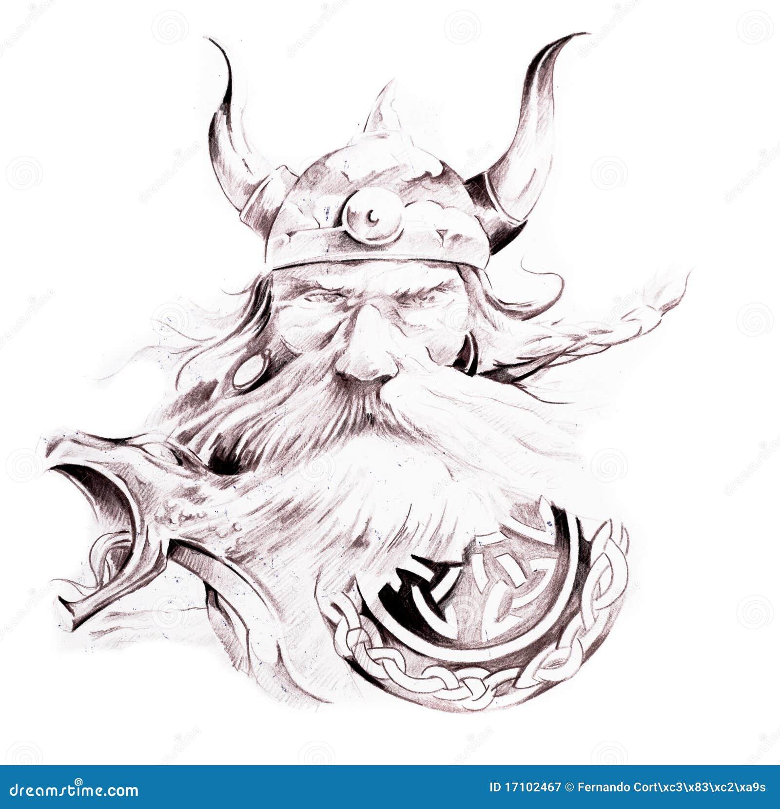 Tattoo Art Sketch Of A Viking Stock Illustration