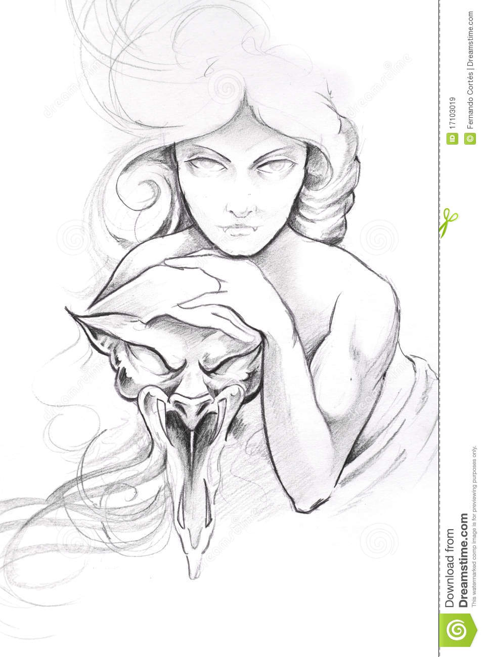 tattoo art sketch of a woman with mask stock illustration