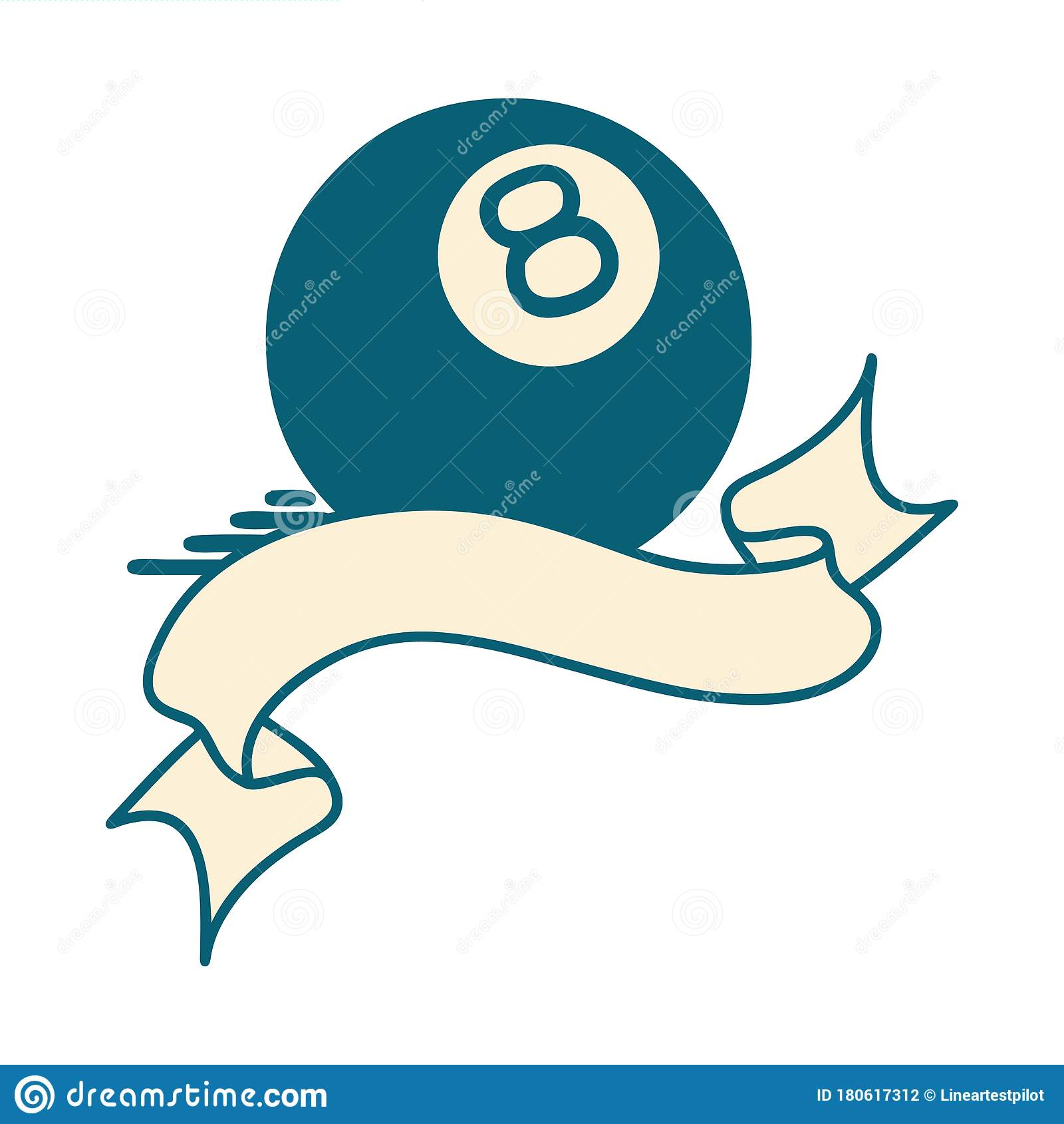 Tattoo With Banner Of A 8 Ball Stock Vector Illustration Of Ball Tattoos 180617312