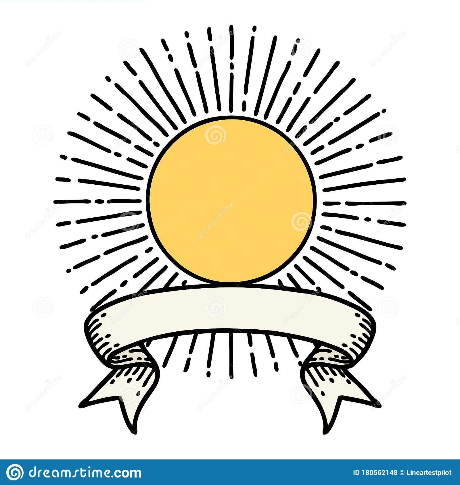 Tattoo With Banner Of A Sun Stock Vector Illustration Of Design Banner 180562148