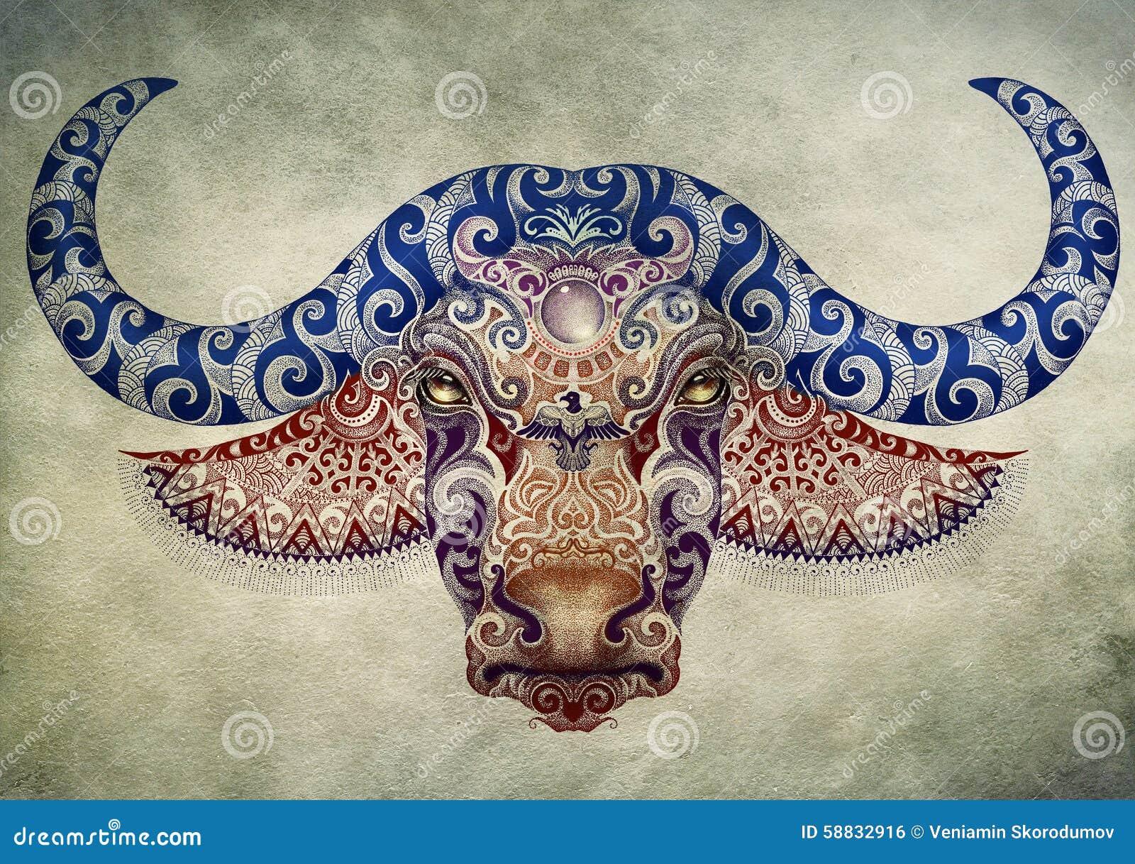 Top Tattoo, Bull, Buffalo Head With Horns Stock Illustration  FV91
