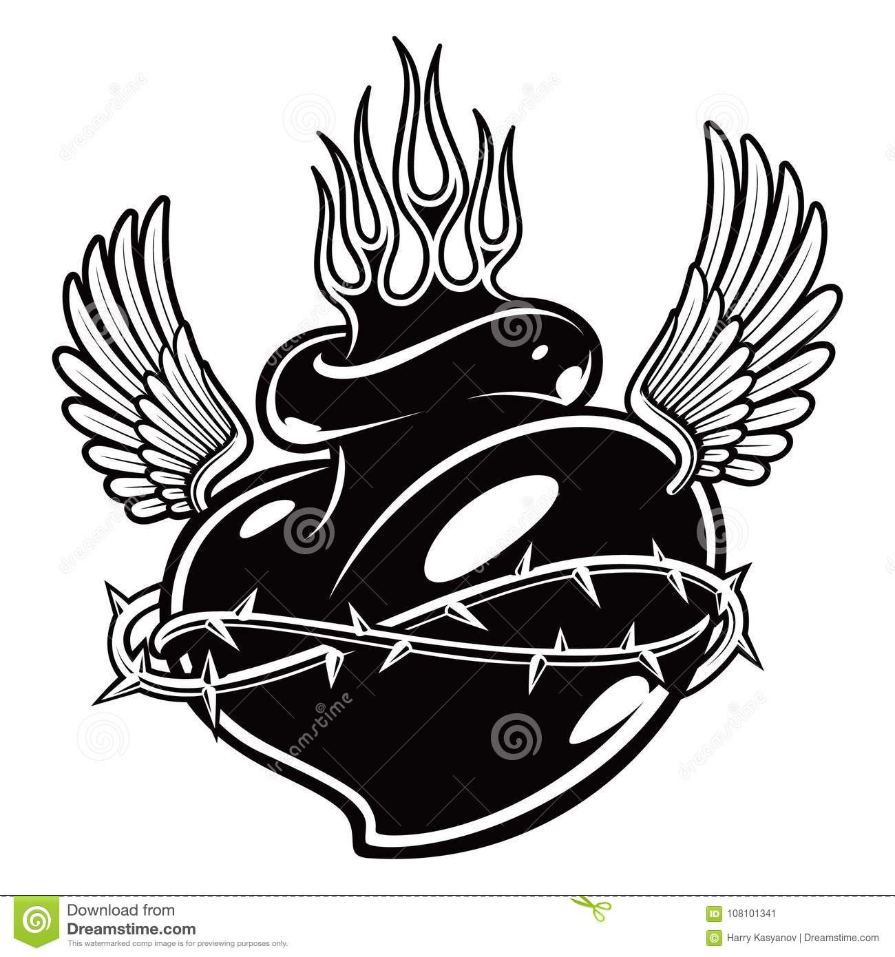 Tattoo Chicano Heart With Flames Monochrome Version Stock