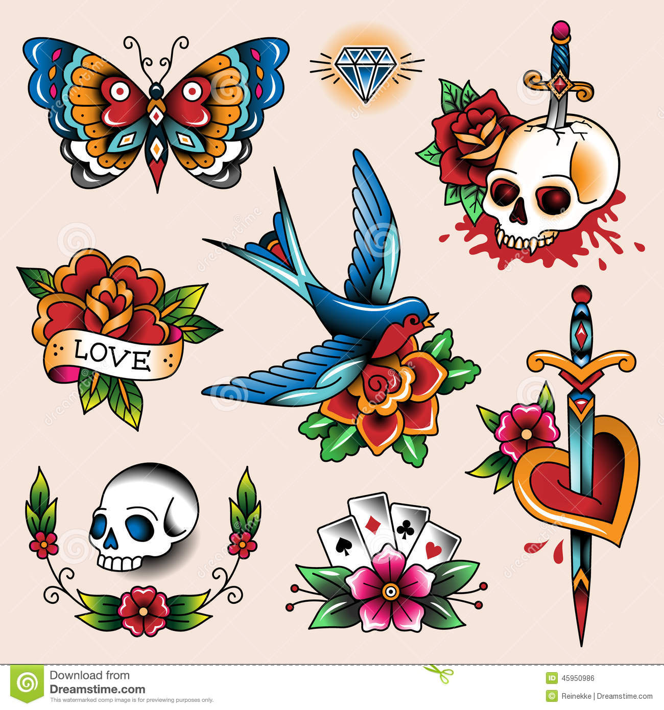 Tattoo collection stock vector image of symbol traditional 45950986 - Mobeltattoo vintage ...
