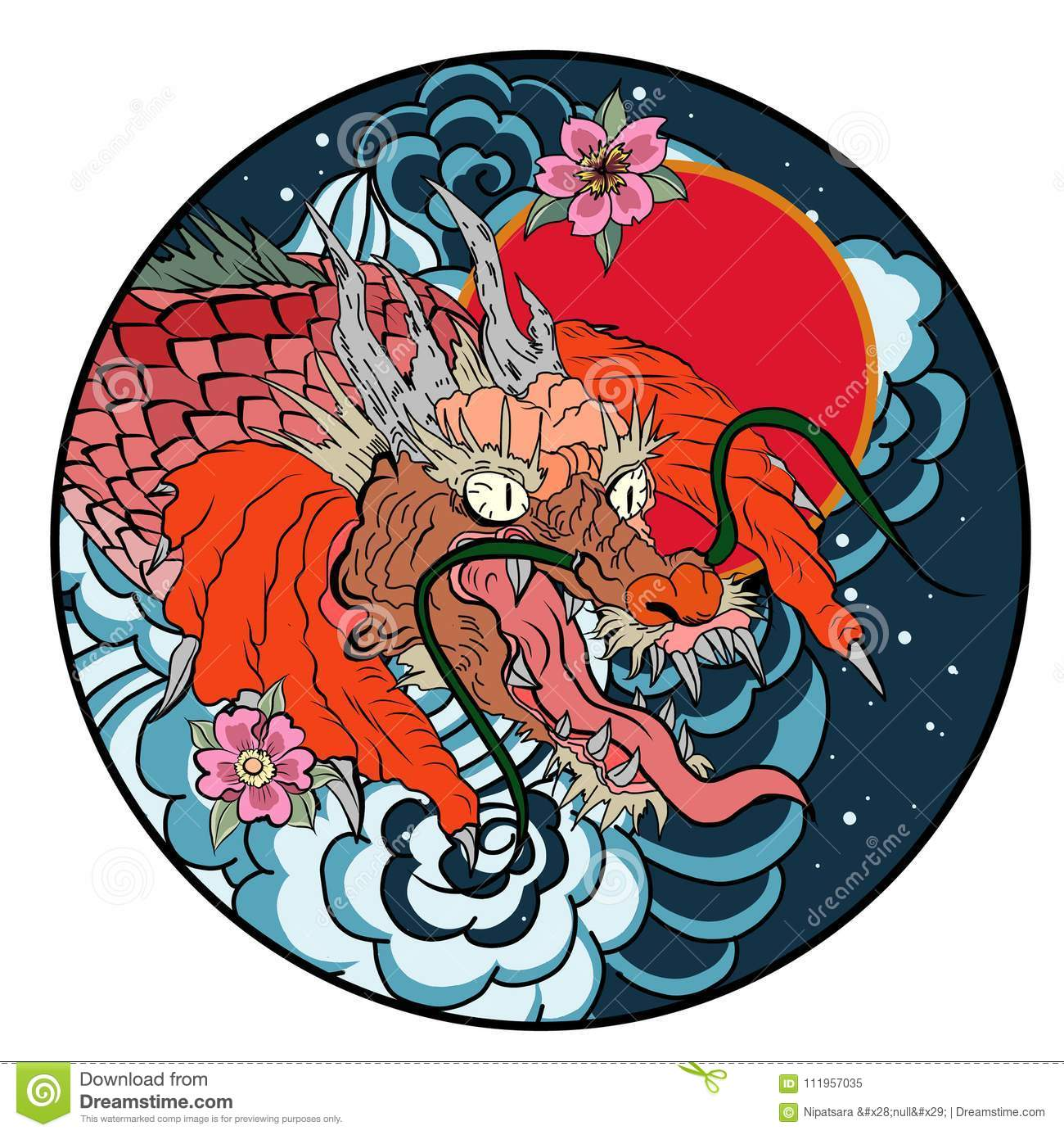 Tattoo Design Koi Dragon With Cherry Blossom And Wave In Circle.koi ...