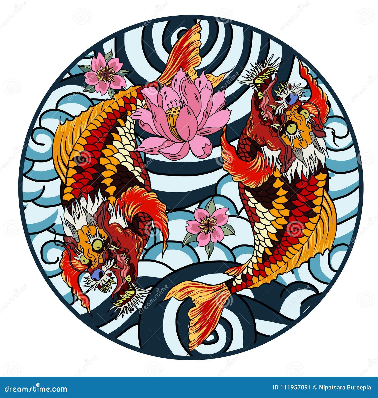 Hand Drawn Koi Fish In Circle, Japanese Carp Line Drawing Coloring ...