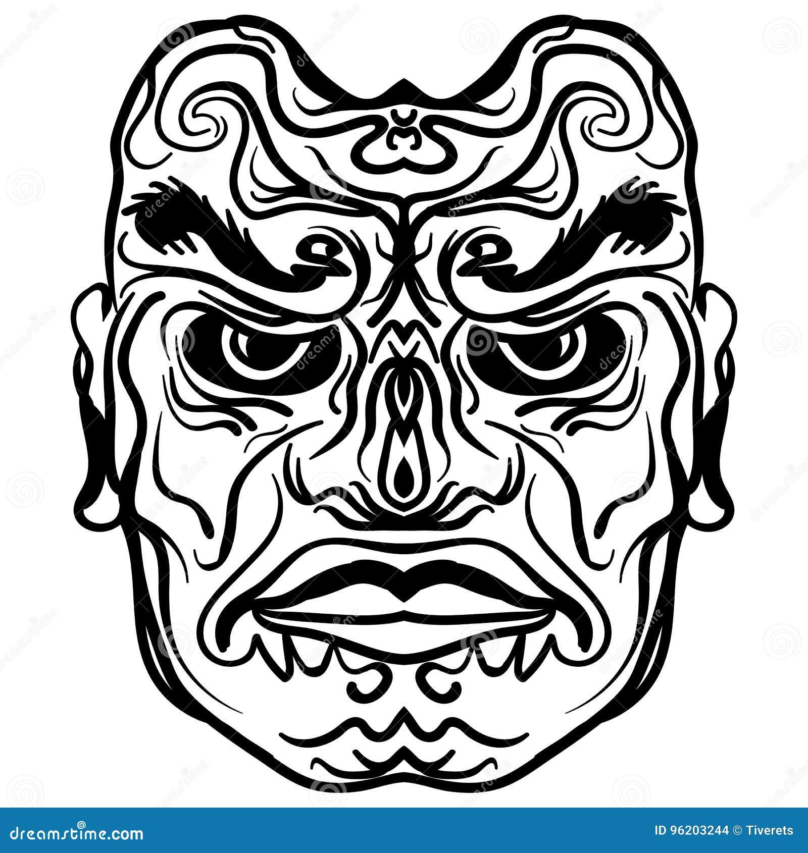 639e34f730a44 Tattoo design of tribal mask, vintage engraved illustration. Demon mask  sketch tattoo
