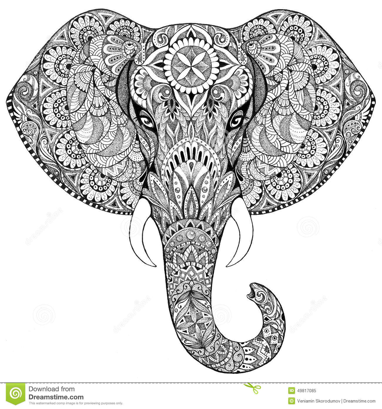 Tattoo Elephant With Patterns And Ornaments Stock Illustration Image