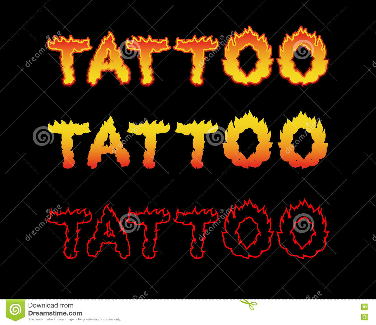 Download Tattoo Fire Letters Flame Lettering Comics Font Stock Vector