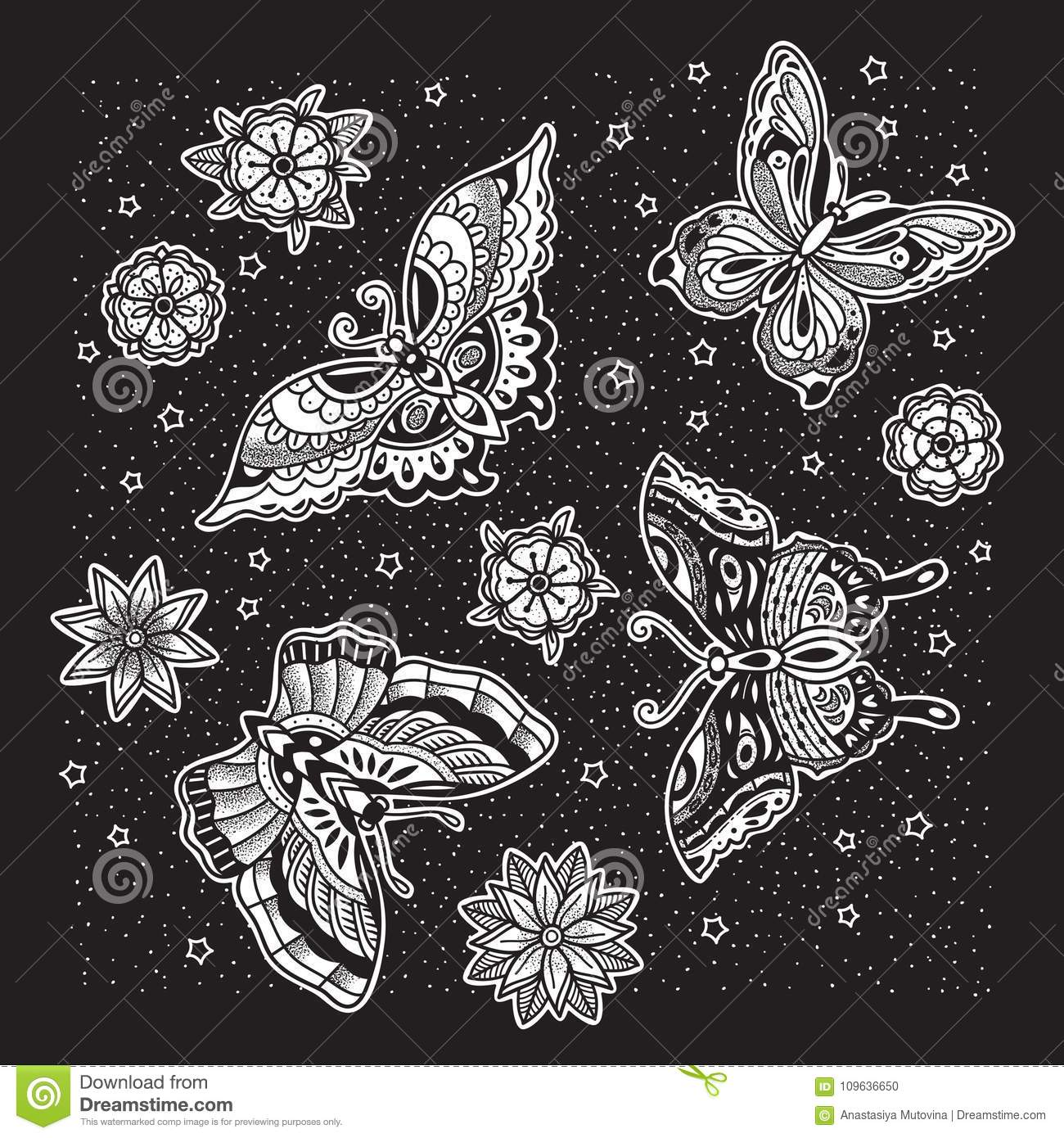 Collection of ink butterfly and flower tattoo in old school style
