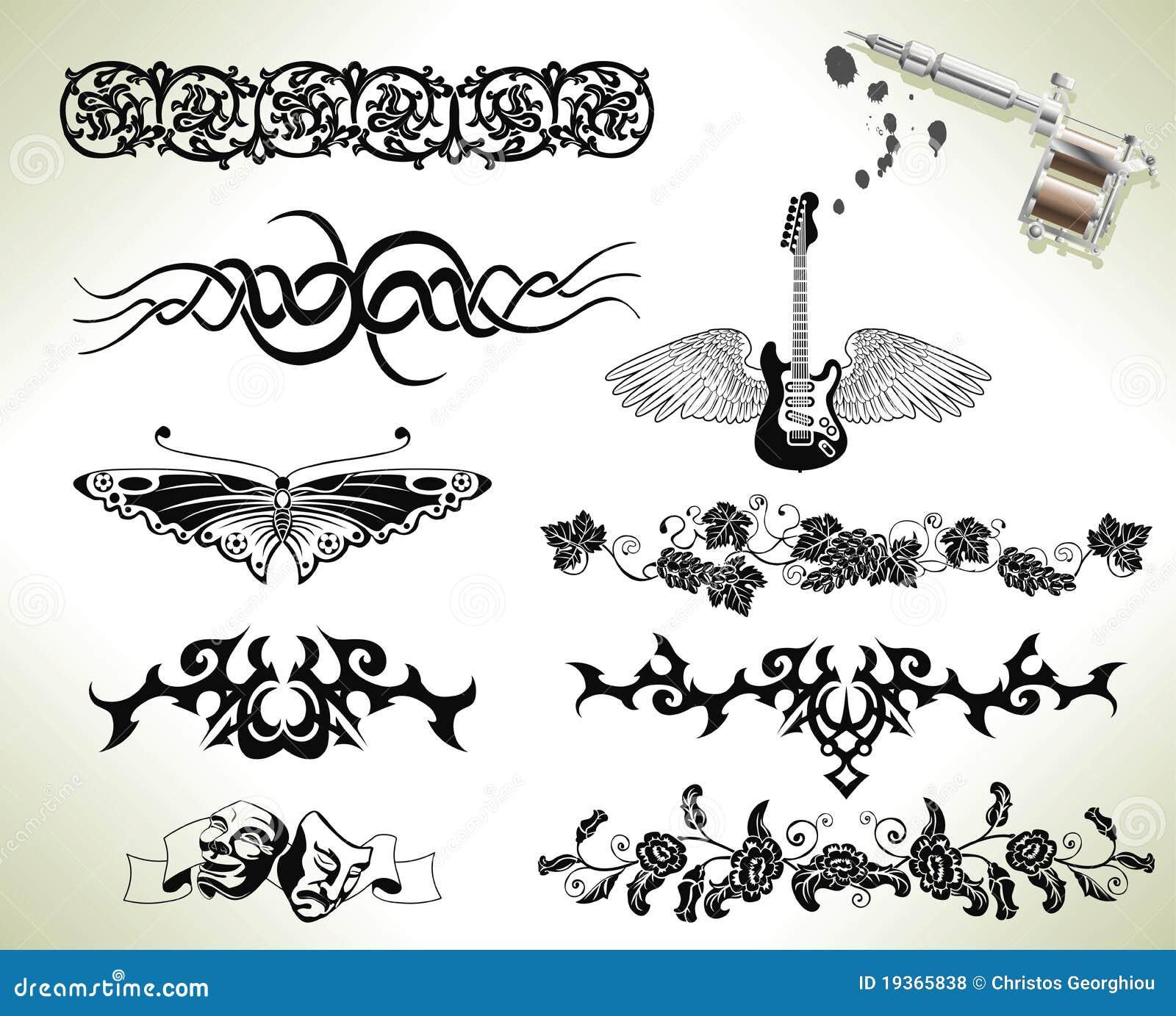 tattoo flash design elements royalty free stock photos image 19365838. Black Bedroom Furniture Sets. Home Design Ideas