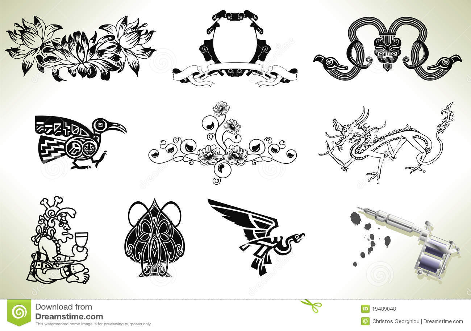 tattoo flash design elements royalty free stock photos image 19489048. Black Bedroom Furniture Sets. Home Design Ideas