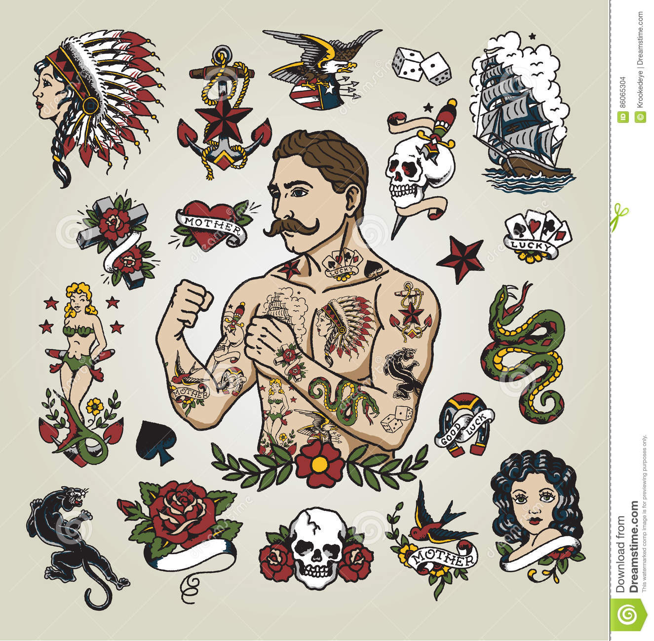 tattoo flash set tattoo hipster man and various tattoo images