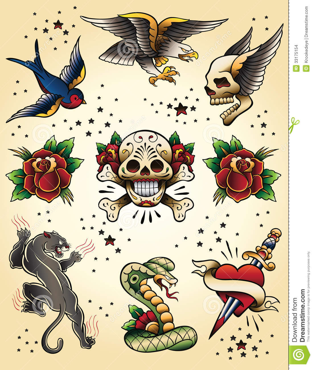 Old school tattoo dagger through heart stock photos image - Tattoo Flash Vector Elements Set Stock Images Image