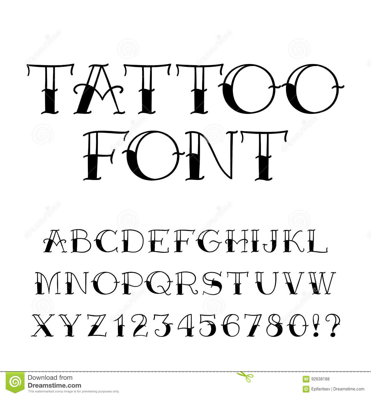 Tattoo Font Vintage Style Alphabet Letters And Numbers Stock