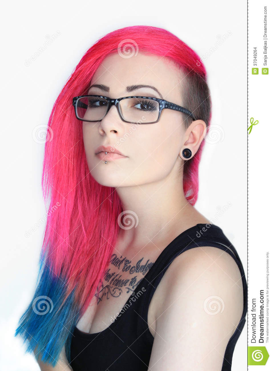 with and tattoos pink hair Girls