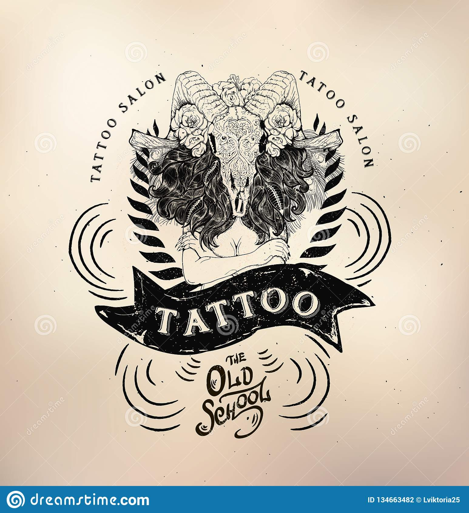 6c6c0ff30 Tattoo Girl Old School Studio Skull Stock Illustration ...