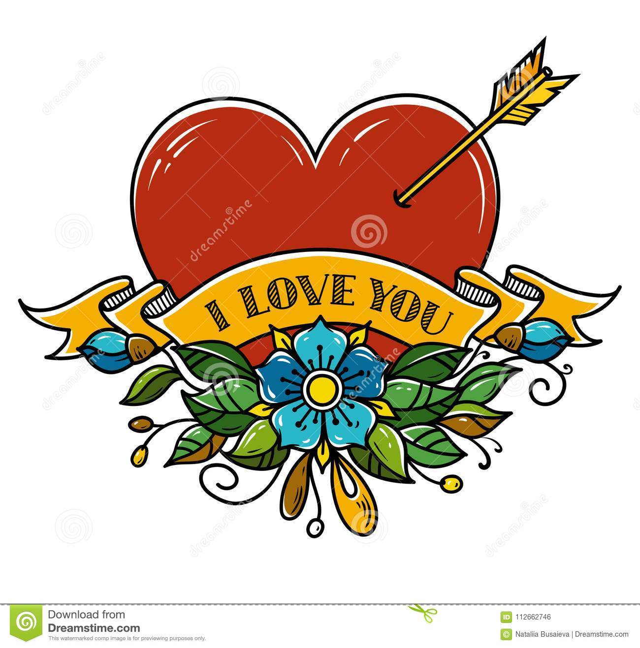 Tattoo Heart Pierced With Arrow Heart Decorated With Flowers And