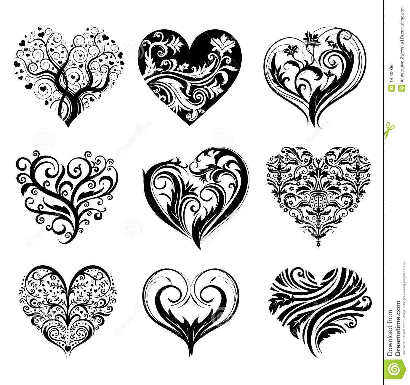 tattoo hearts stock vector illustration of curly ethnic 14932865. Black Bedroom Furniture Sets. Home Design Ideas