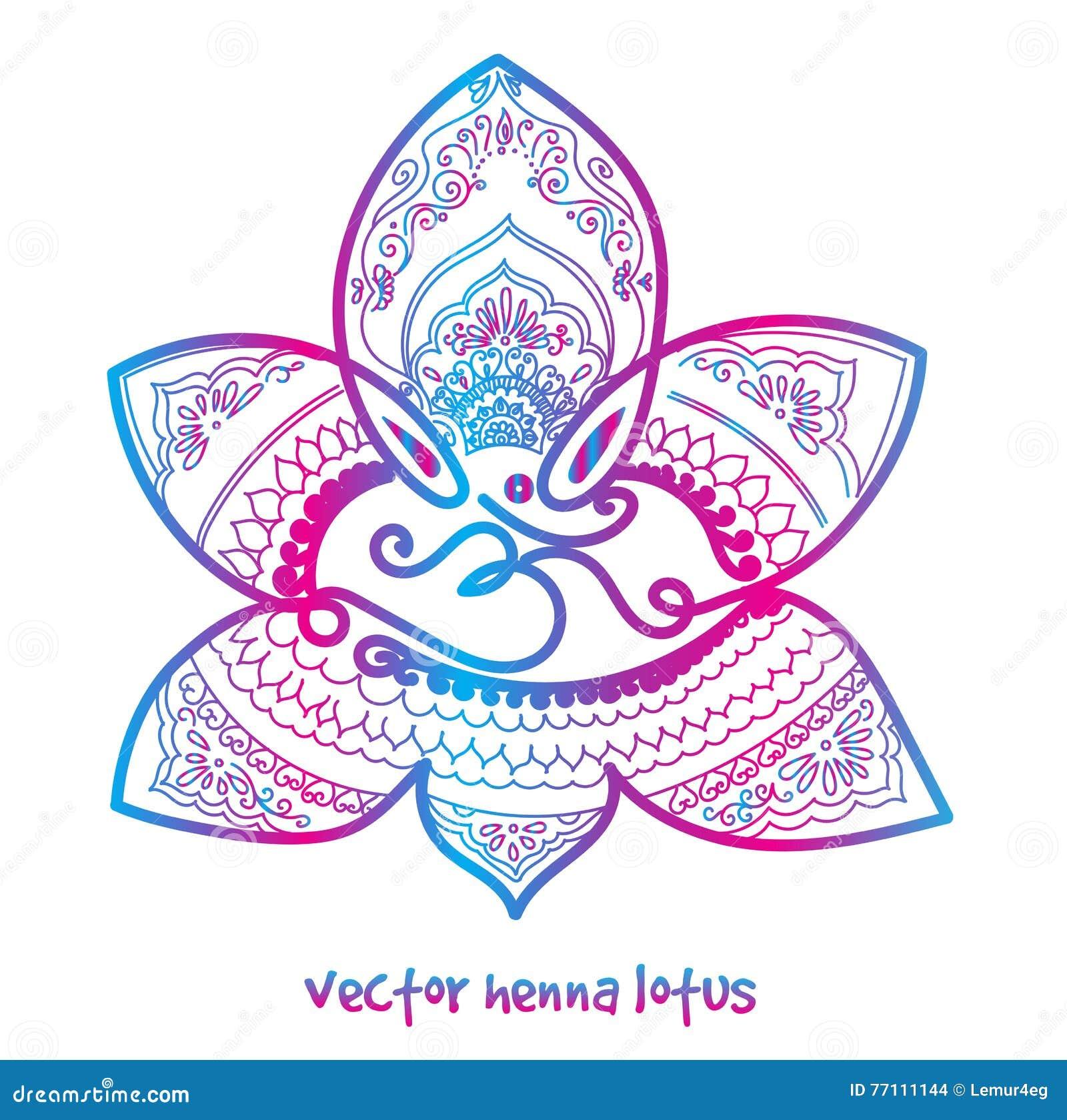 Tattoo Henna Lotus Stock Photo Image Of Mehendi Abstract 77111144