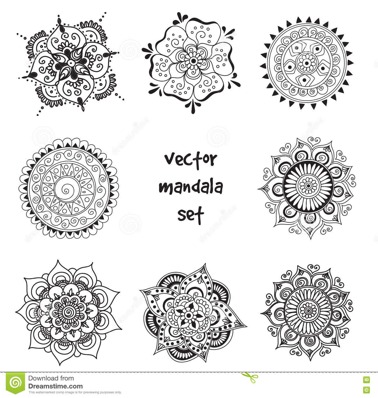 Tattoo Henna Mandala Set Stock Photo Image Of Floral 75365498