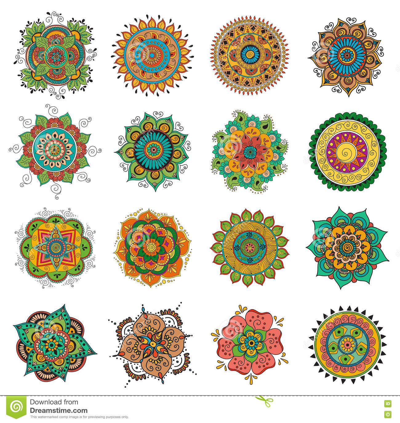 Tattoo Henna Mandala Set Stock Vector Illustration Of Pattern