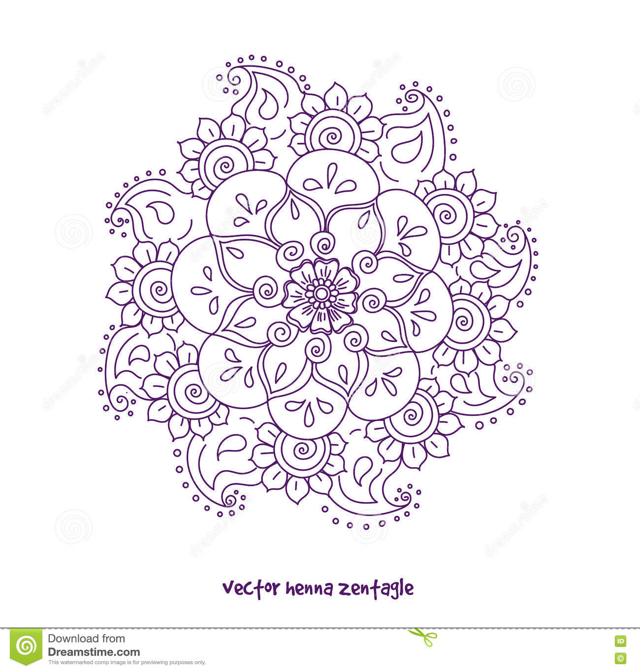Tattoo Henna Mandala Stock Vector Illustration Of Ethnic 74721665