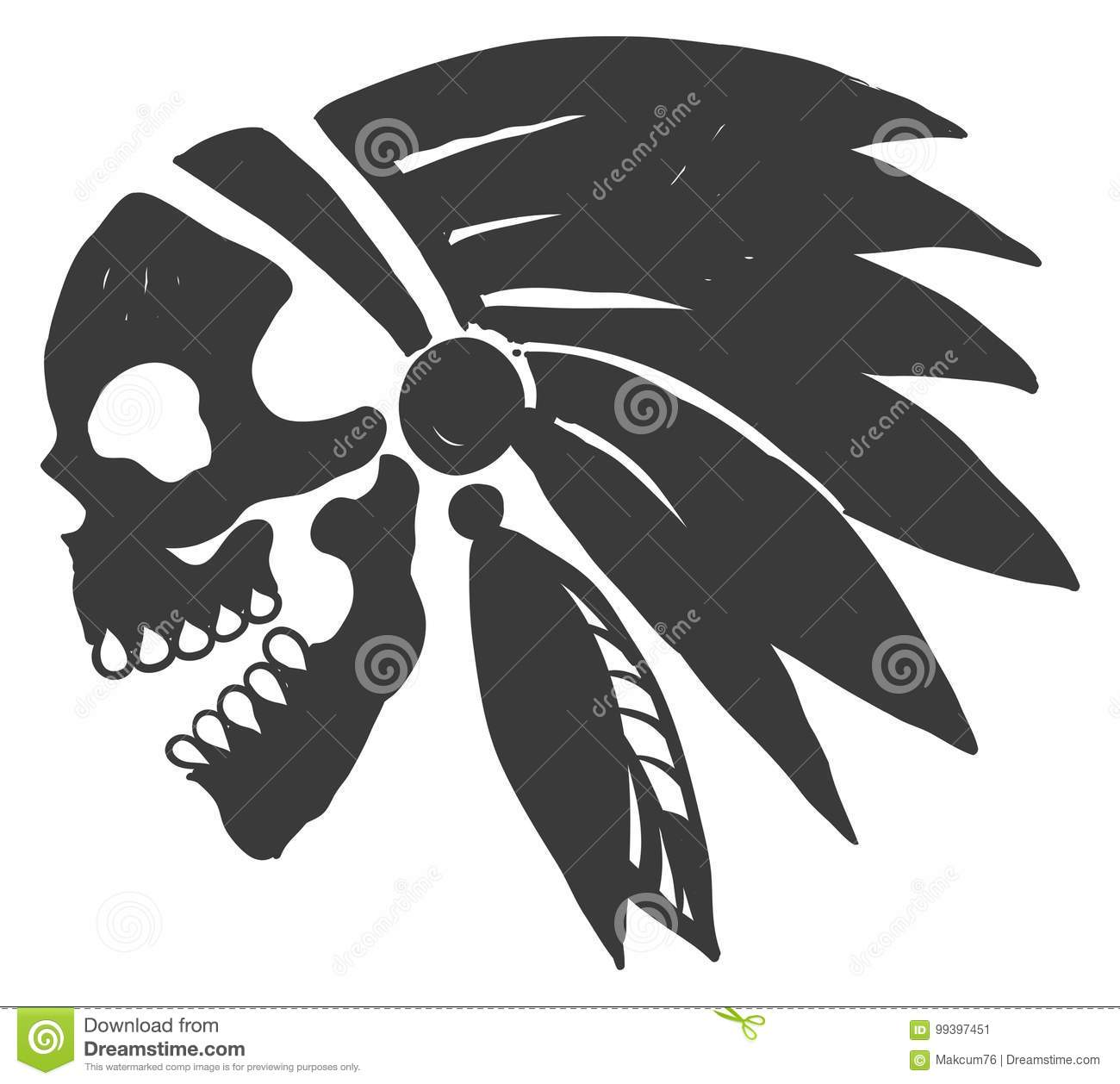 edf85f487 Tattoo Indian Skull stock vector. Illustration of american - 99397451