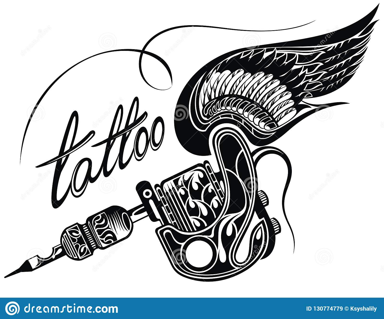 Tattoo Machine Isolated On White Background Stock Vector