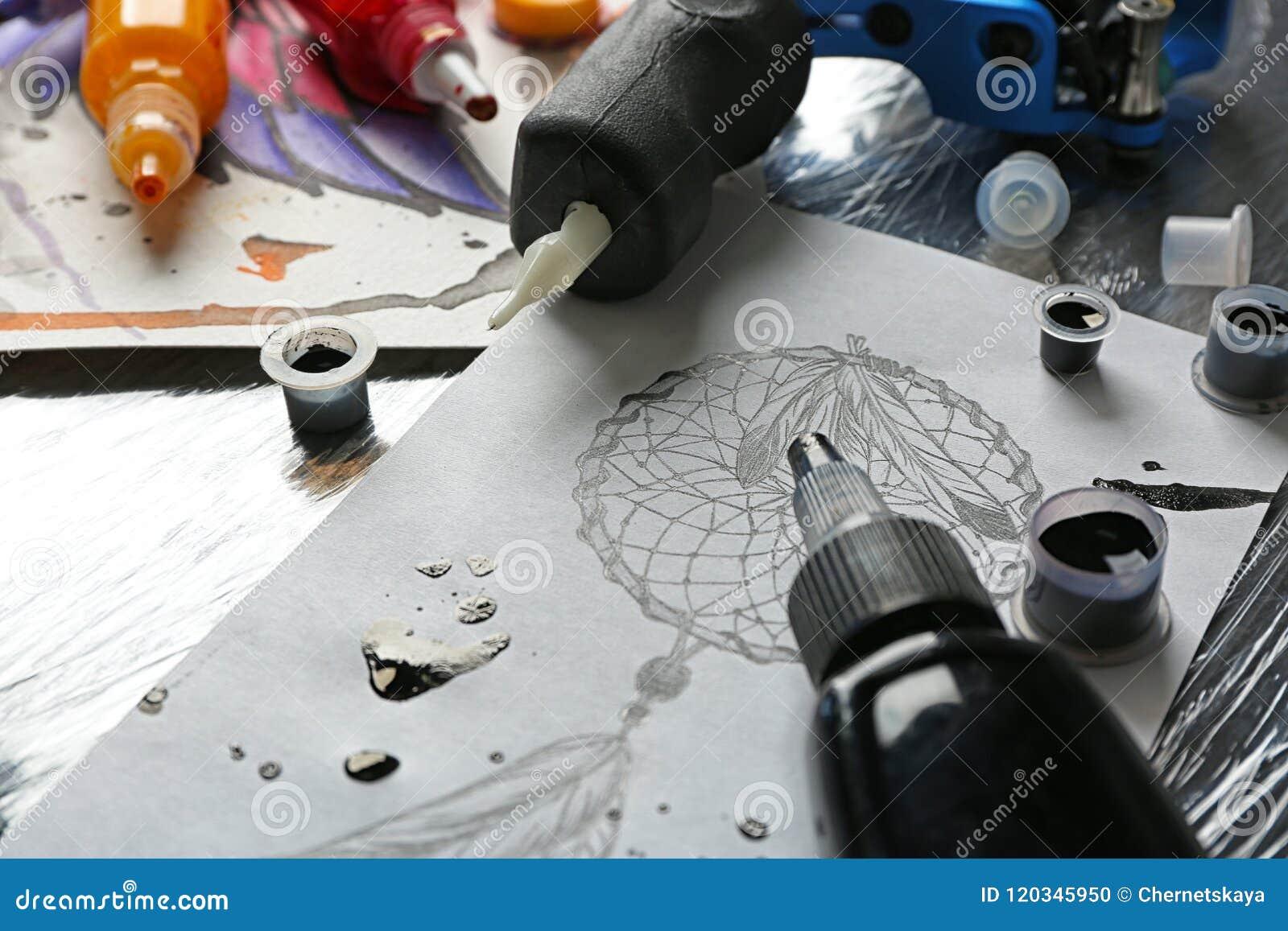 Tattoo machine, sketch and supplies