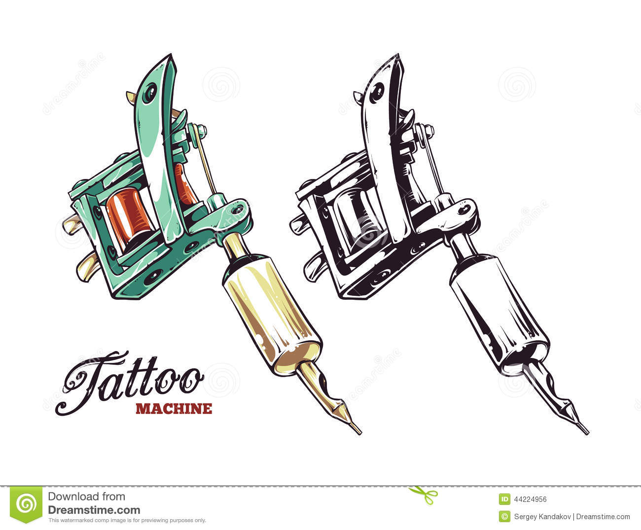 Cool hand-drawn tattoo machine isolated on white. Colored and ...
