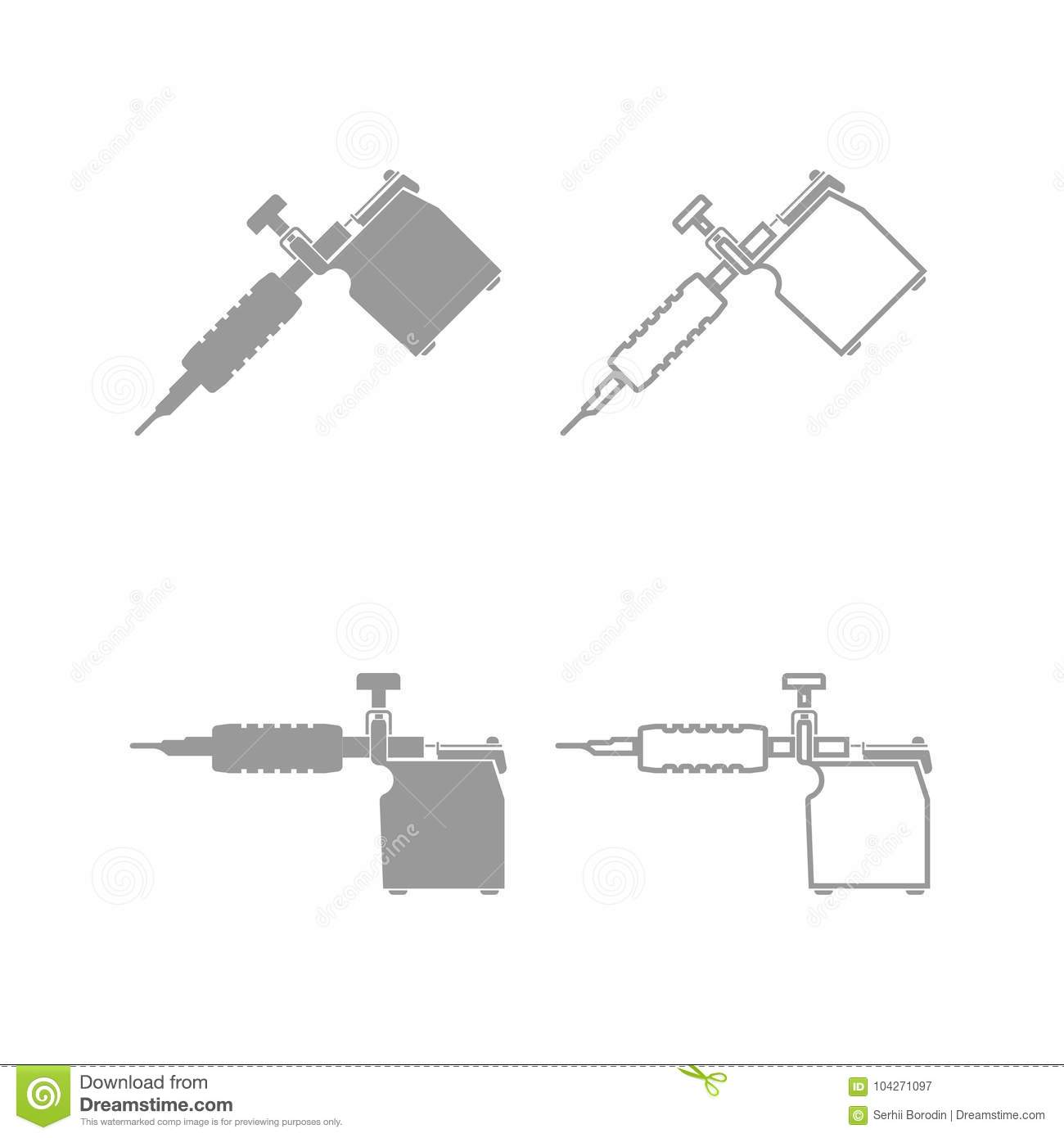 Tattoo Machines Icon Grey Set Stock Vector Illustration Of Rotary Machine Diagram Download Needle Paint