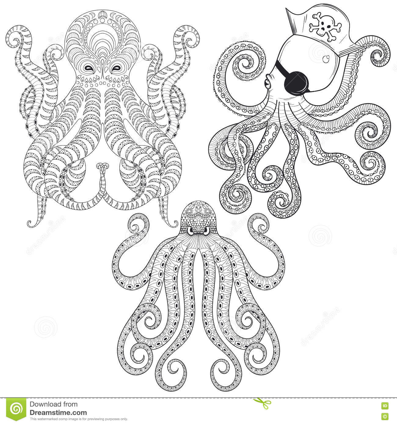ethnic coloring pages | Tattoo Octopus Set. Hand Drawn Zentangle Tribal Octopuses ...