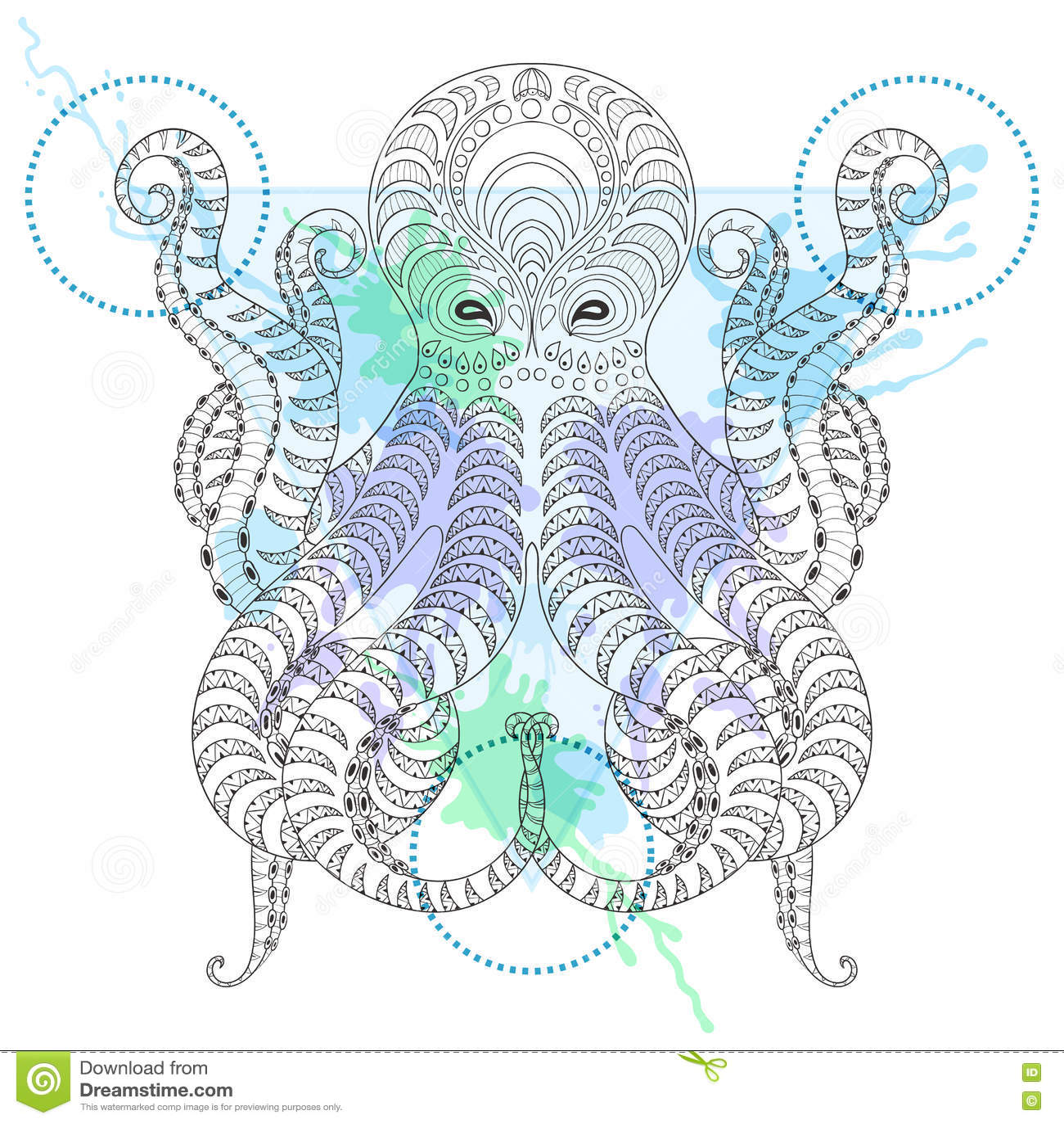 Tattoo Octopus Zentangle Stylized Hand Drawn Tribal