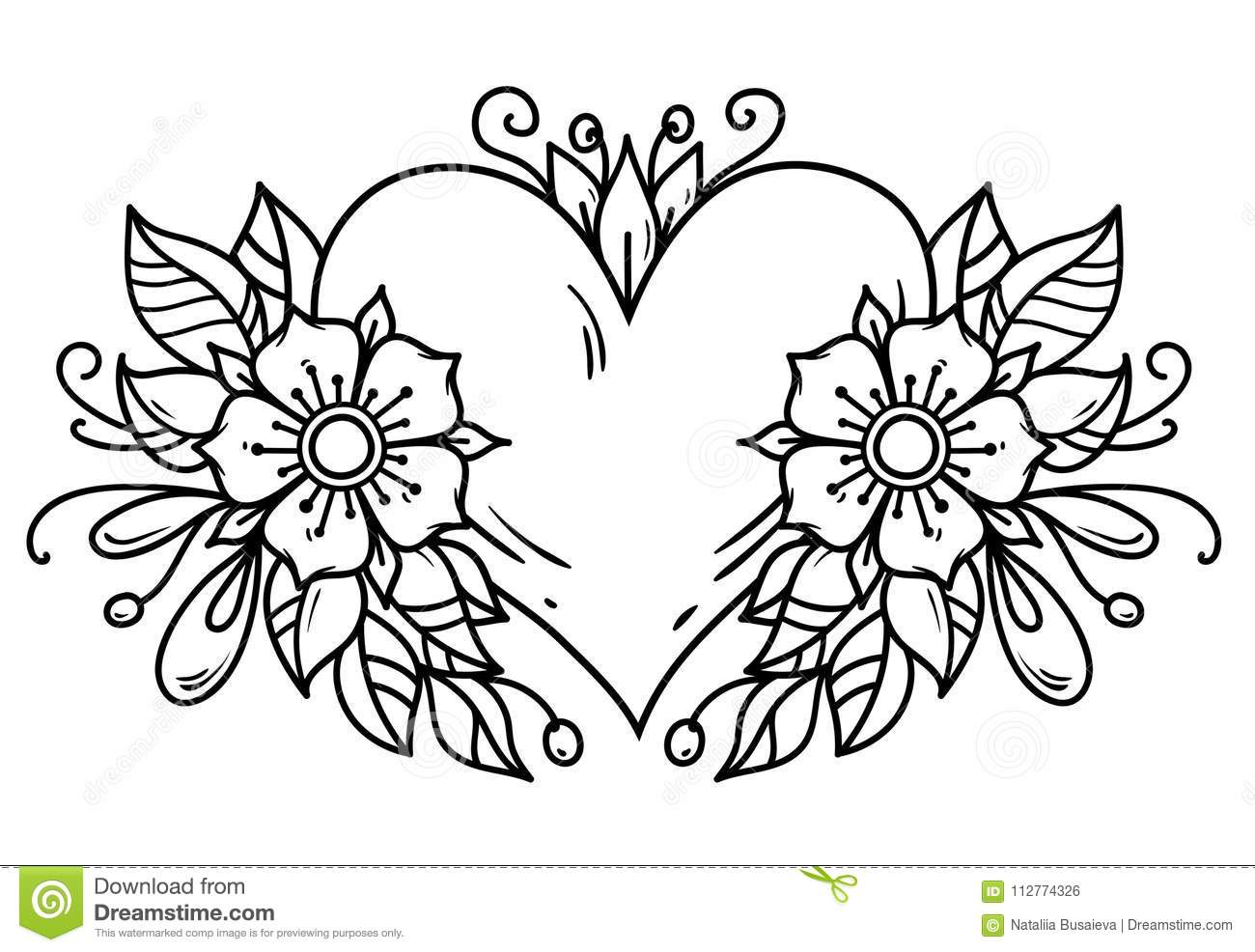 Tattoo Pink Heart Decorated Ribbon Blue Flowers Leaves Black And