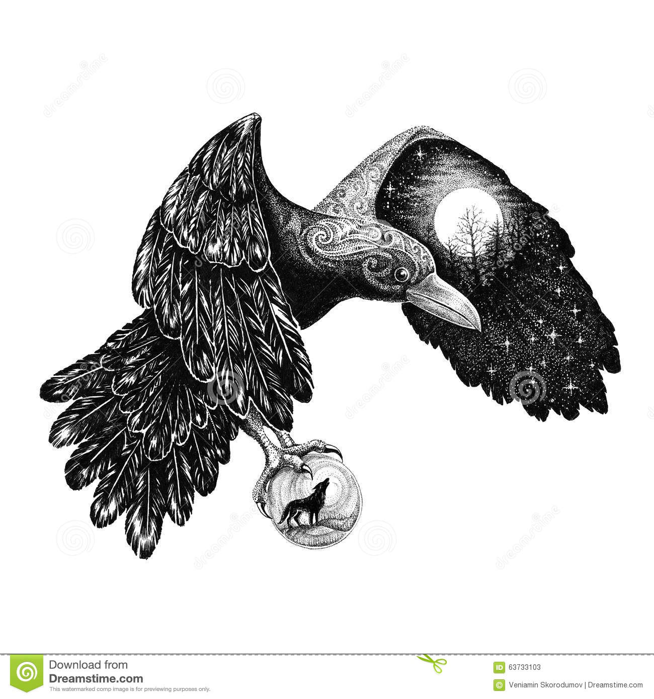 Tattoo Raven With A Full Moon On A Wing Stock Illustration