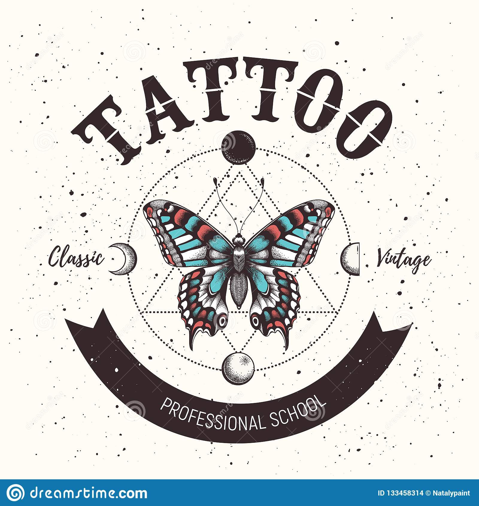 153ee2e13 Banner with mystical butterfly tattoo and orbiting moon. Geometry style.  Illustration for tattoo parlor, school, studio. More similar stock  illustrations