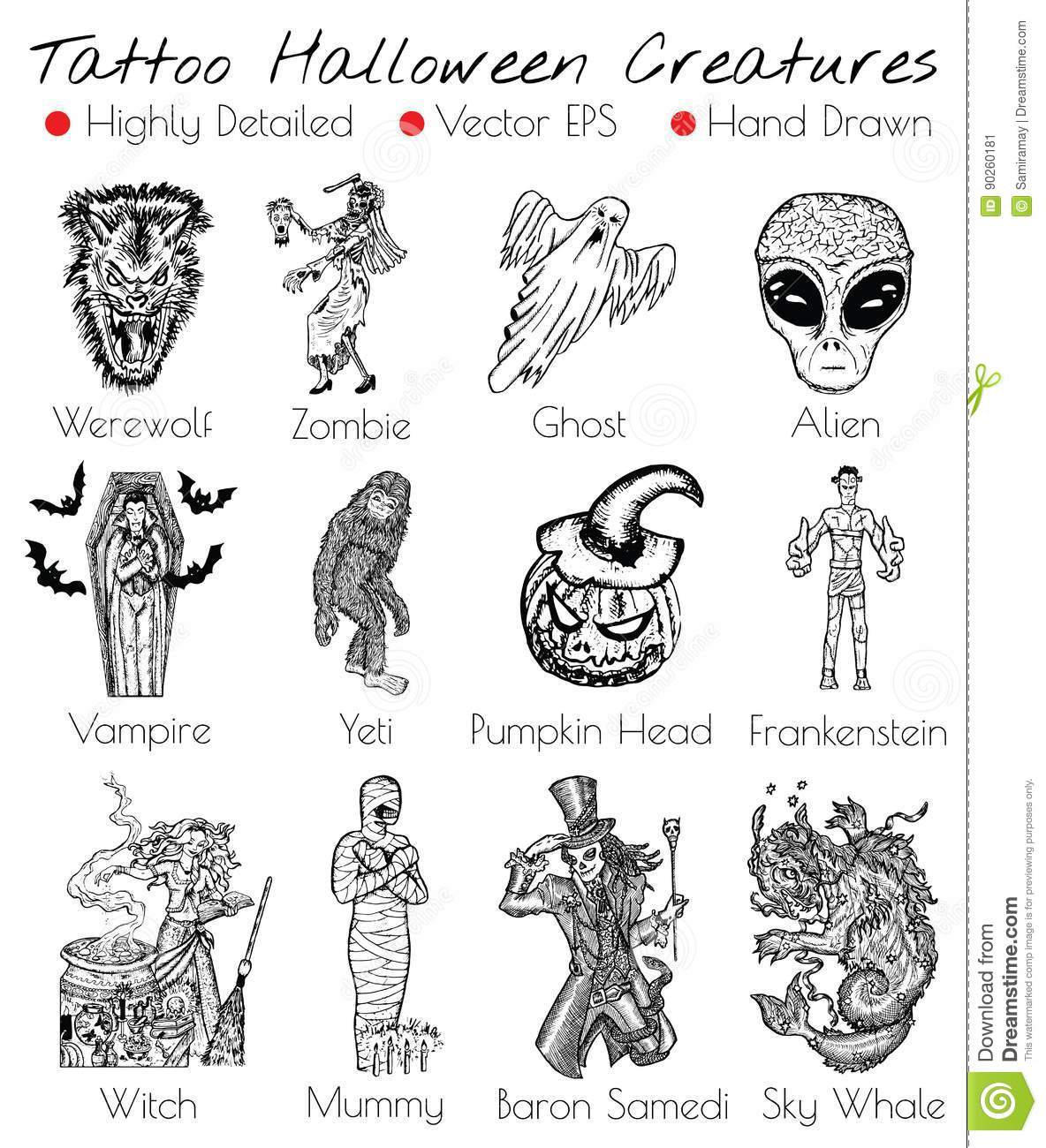 b720478a3 Tattoo Set With Hand Drawn Halloween Creatures Stock Vector ...