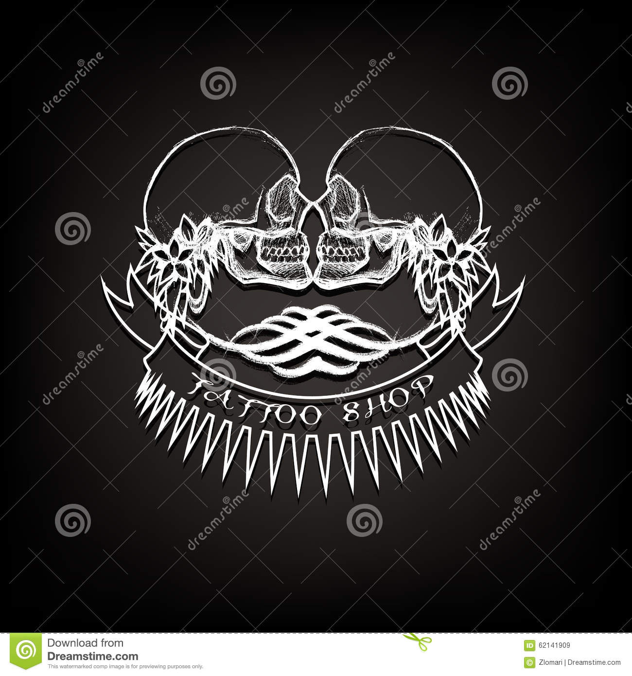 Tattoo Shop Logo, Emblem. Two Skulls With Ribbons Stock Vector - Image ...