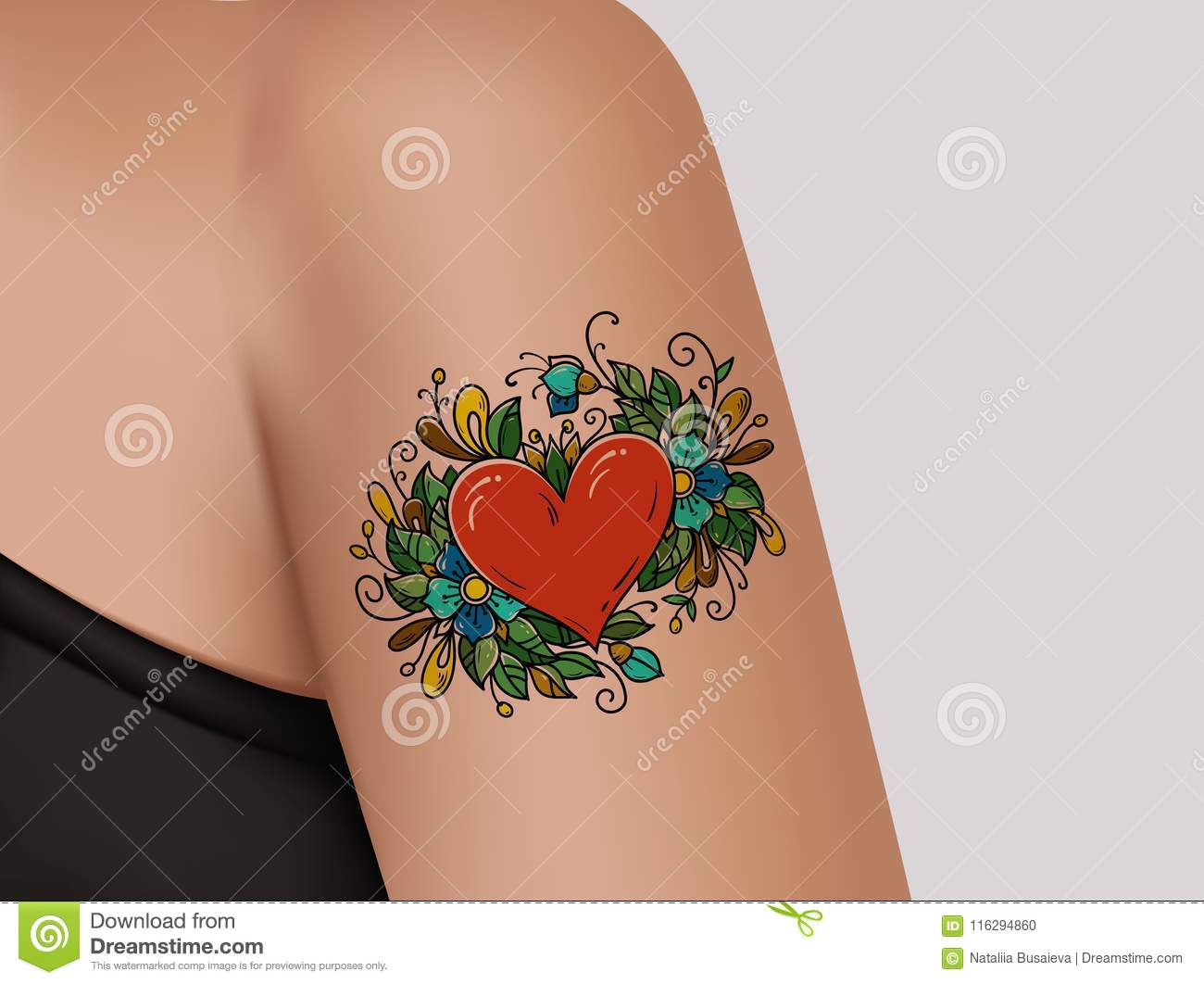tattoo on shoulder heart decorated with flowers stock illustration