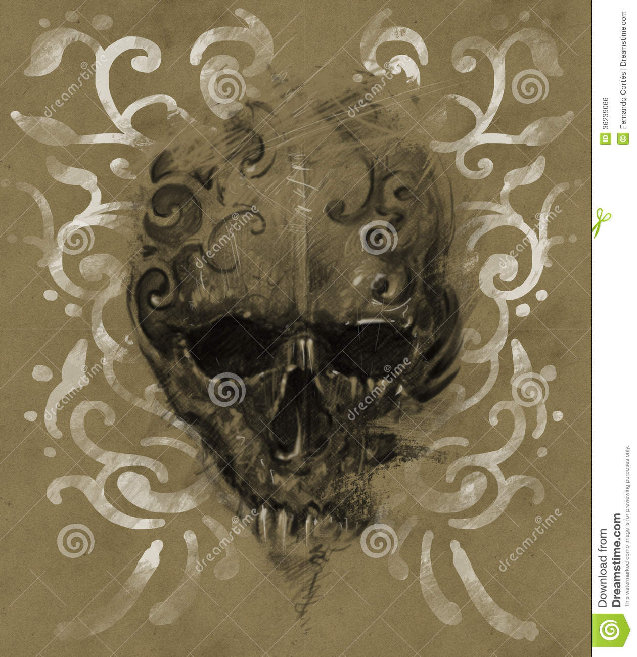 Tattoo skull over vintage paper white tribals design for Printable tattoo paper