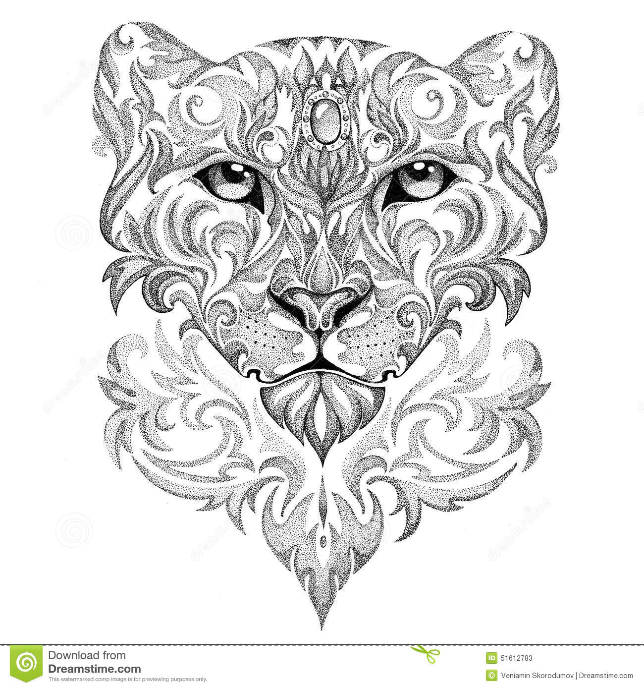 Tattoo Snow Leopard Panther Cat With Patterns And Ornaments Stock Illustration Image 51612783