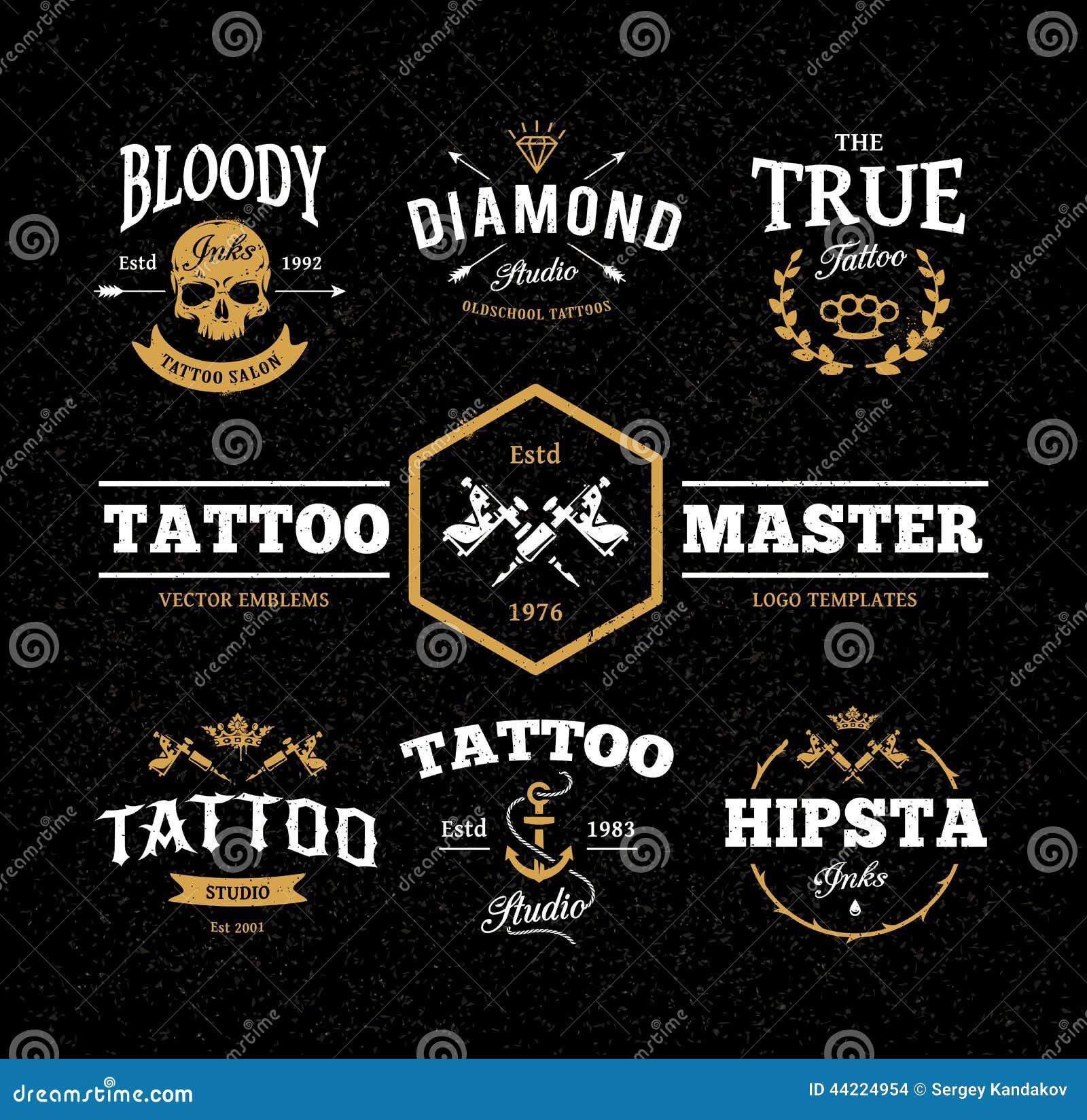 Vector Set Of Cool Tattoo Studio Logo Templates On Dark Background