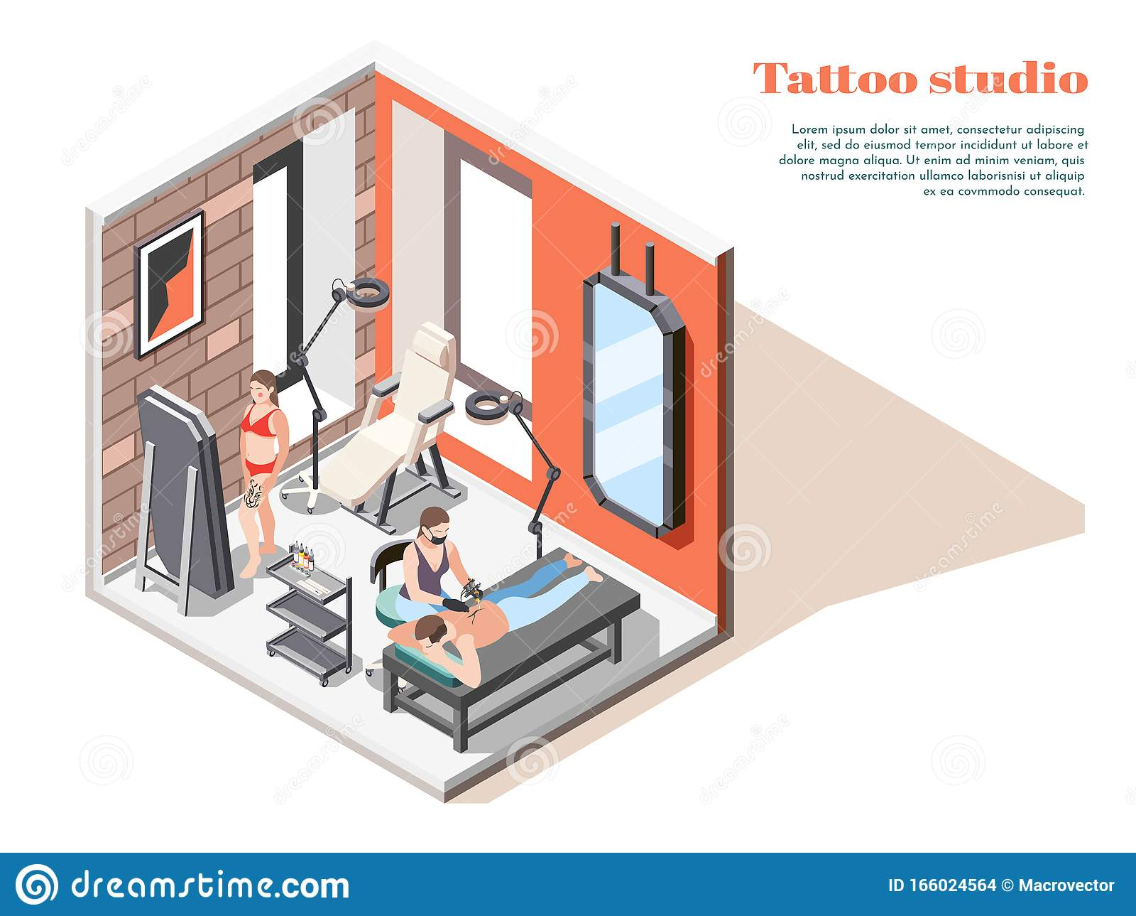 Tattoo Studio Isometric Composition Stock Vector Illustration Of Fashion Mirror 166024564