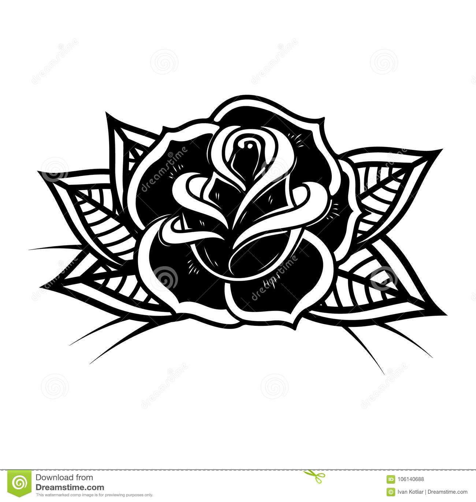 Tattoo style rose illustration on white background design for Tattoo style logo design