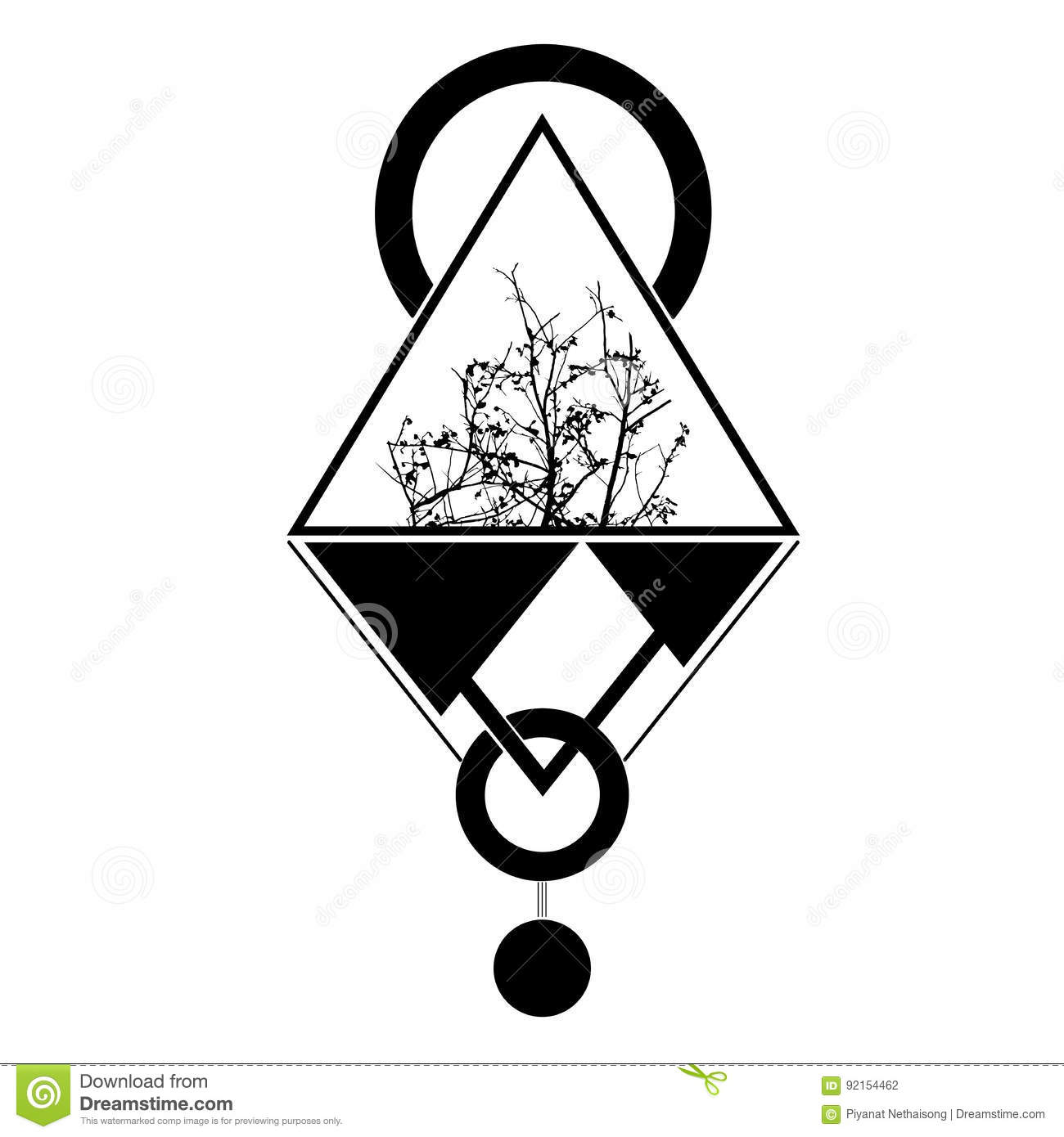 Tattoo Triangle Geomatic Illustration Stock Vector Illustration