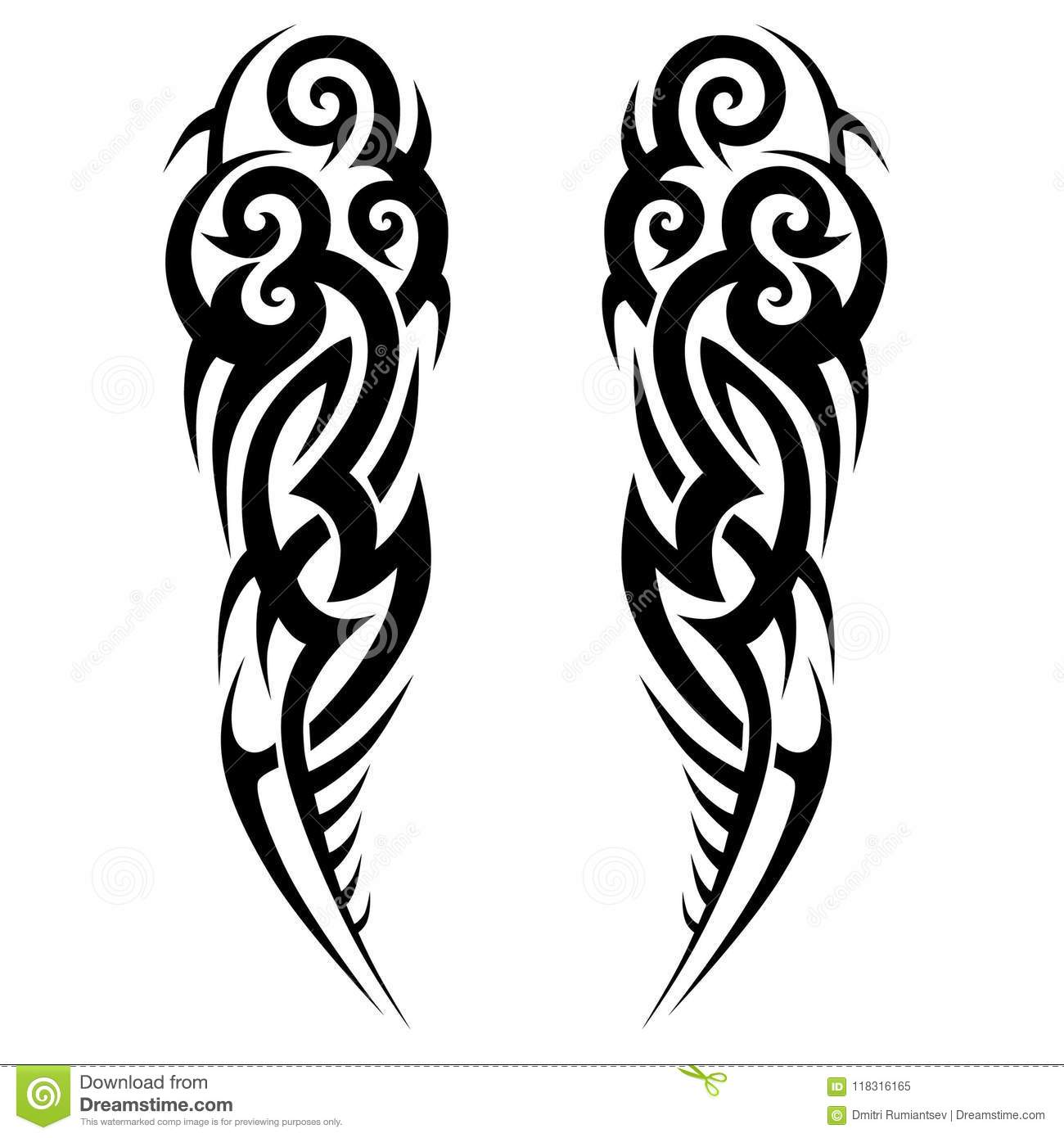489cb7461 Tattoo tribal vector design sketch. Sleeve art abstract pattern arm. Simple  icon on white background. Designer isolated abstract element for arm, leg,  ...